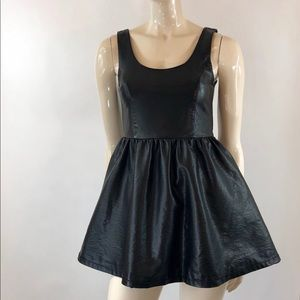 H&M Divided Faux Leather A-line Skater Dress